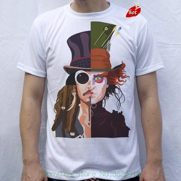 T-shirt dos homens de Johnny Depp Willy Wonka Chapeleiro louco, sagacidade de Jack Sparrow