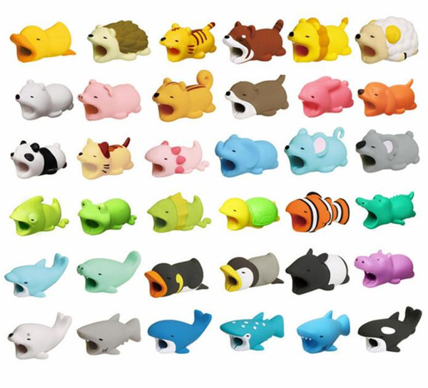 Free Ship 36pcs Different Designs Animal Cable Bite USB Phone Charger Data Protection Cover Mini Wire Protector Cable For Cell Phones