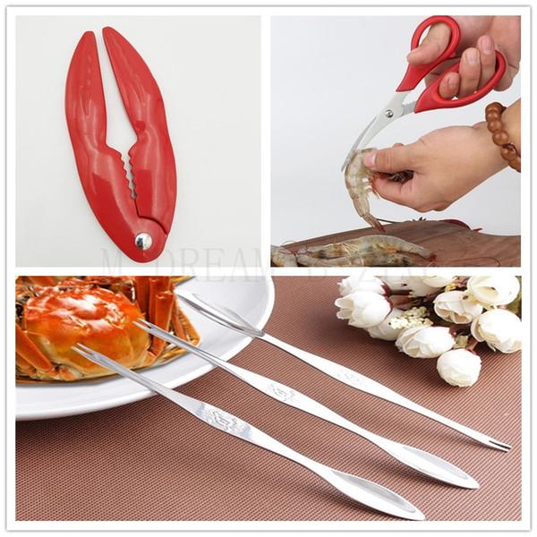 Seafood Strumento Crab Cracker Cracker Lobster Lobster granchio Frutti di forbici in acciaio inox granchio Forcella Cucchiaio gadget da cucina