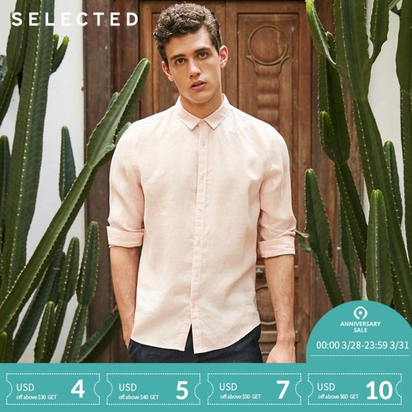 SELECTED Flax concise leisure long-sleeved shirt S 418205517