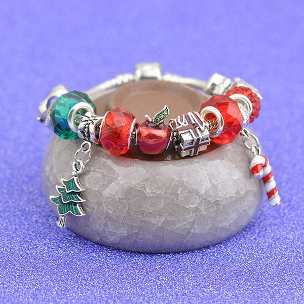 Fashion Xmas Tree Pendants Charm Bracelets Fit Pandora Boy Girls Snowman Apple Crystal Glass Beads Bangle Silver Jewelry Christmas Gift P105
