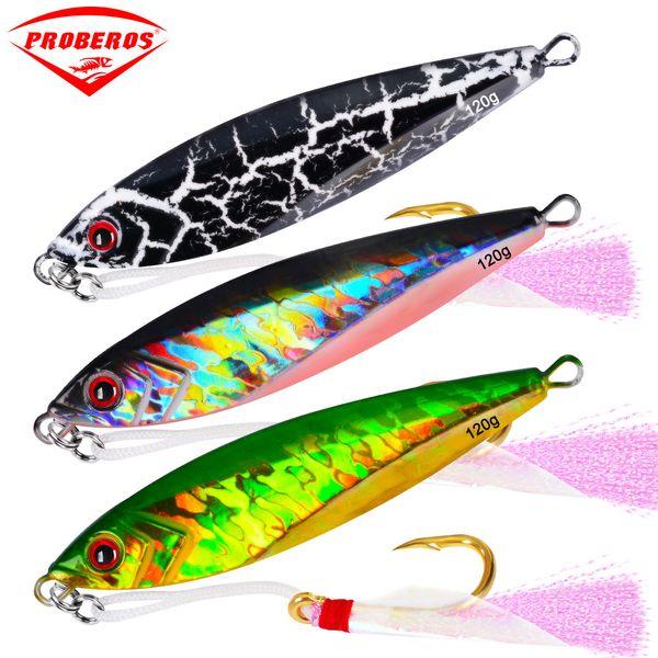 fishing lure 7PC Jigging Lead Fish 120G/11CM Metal Jig Fishing Lure with Hooks 6 Colors Paillette Knife Wobbler Artificial Hard Bait
