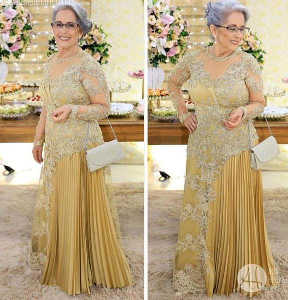 Арабские золотые кружева платья для матери невесты с длинными рукавами из бисера Allique плиссированные прозрачные шеи длиной до пола, вечерние платья