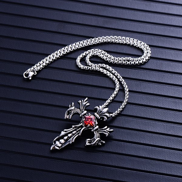 Mens Titanium Steel Cross Necklace Gothic White Red Gemstone Diamond Punk Arrow Pendant Necklaces Statement Collar Men Boutique Jewelry