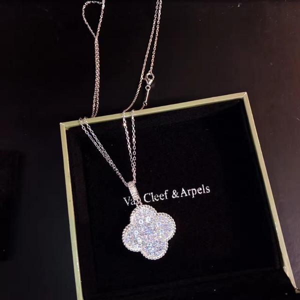 Lady Designer Collier Tempérament Party design polyvalent collier pendentif Grand entièrement Sized trèfle à quatre feuilles Pull chaîne
