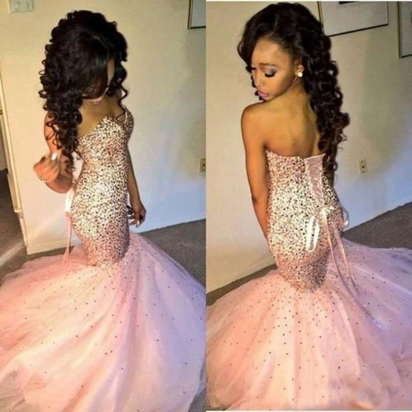 Luxury Fabulous Mermaid Prom Dresses 2019 Sparkly Beaded Sweetheart Neck Fishtail Cut Blush Pink African Dresses Evening Gowns Lace-up Back