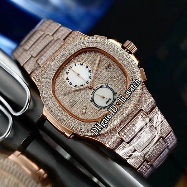 New Nautilus 5990 Rose Gold All Diamond White Dial Miyota Quartz Chronograph Mens Watch Sports Watches Stopwatch Stainless Steel PB315b2
