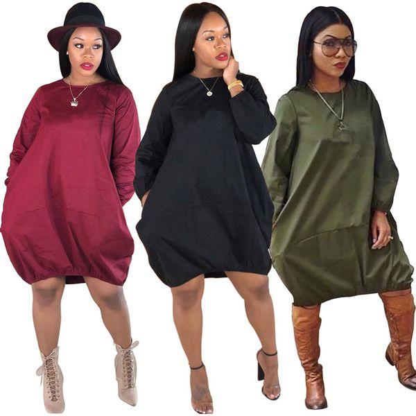 Brand Designer Women Lantern skirts ball gown dresses loose mini dress  casual long sleeve poppin skirt above knee lady fall clothes S-XL 9b14e4d8e