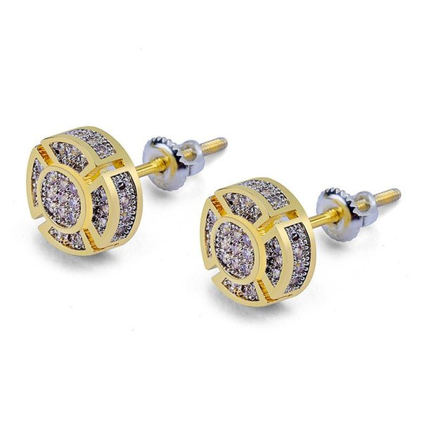 2019 Fashion Hip Hop Earrings With Cubic Zirconia 18K Gold Plated Jewelry Luxury Hip Hop Stud Earrings 8mm