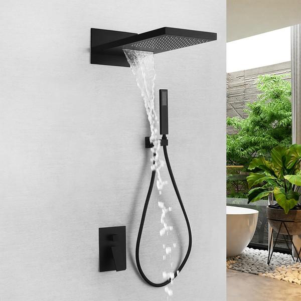 Rolya Matte Black cascata Bagno Doccia Set di lusso pioggia rubinetto del miscelatore doccia insieme combinato con montaggio a parete in ottone massiccio