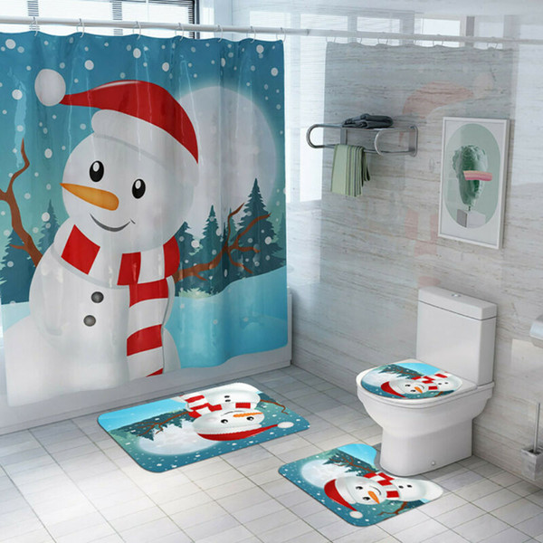 4pcs Weihnachtsschneemann-Anti-Rutsch-WC Sitzbezüge Mat Set Badezimmer-Duschvorhang Teppichboden Toilette Abdeckung Pad Navidad Natal