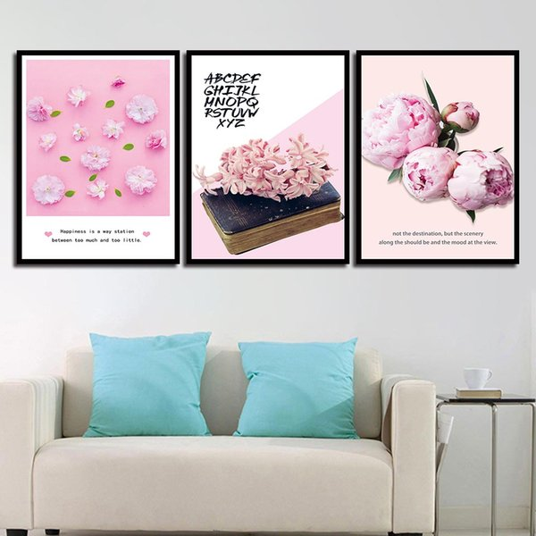 2019 Paintings Wall Art HD Posters Print Nordic Pink Flower Modern Quotes Canvas For fice Living Room Home Decoration From Z
