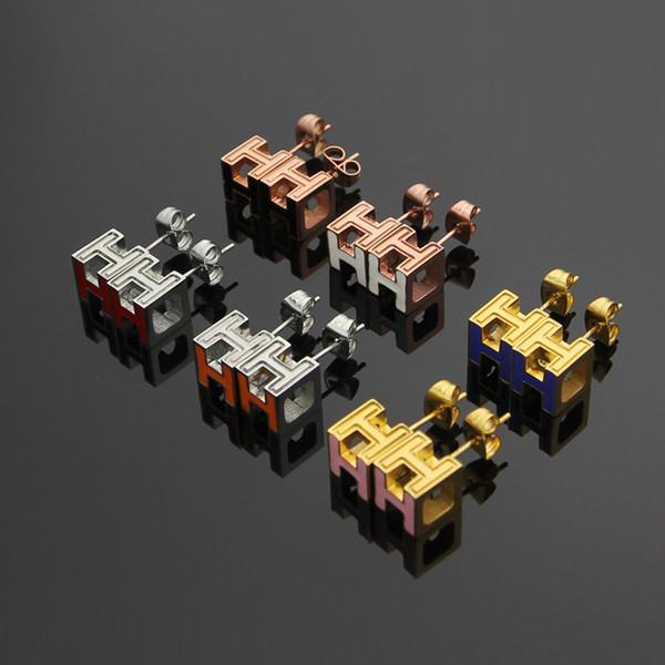 Nouvelle mode 316L en acier titane punk boucle d'oreille avec émail H mots pour homme et les femmes stud boucle d'oreille bijoux livraison gratuite