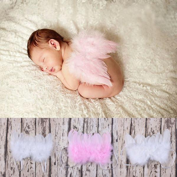 Prendas para la cabeza del bebé infantil para niños Niñas Niños pluma del ángel alas de color rosa bebé de hadas del partido del traje fotografía apoya la suposición sólida linda 2020