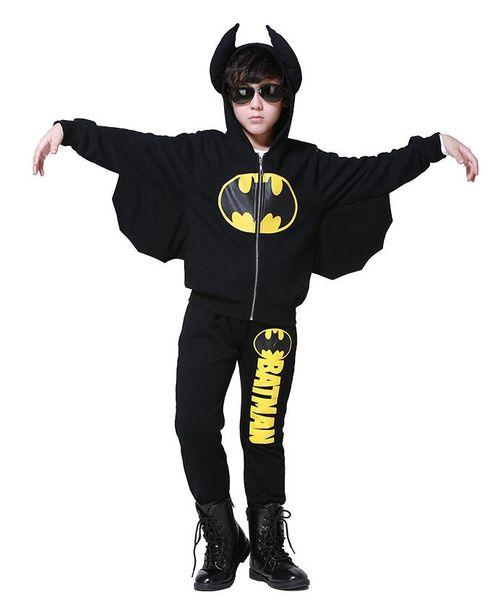 Ropa infantil de Batman para niños primavera y otoño, más traje de terciopelo, deportes para niños, dos piezas de 100-150 cm para niños