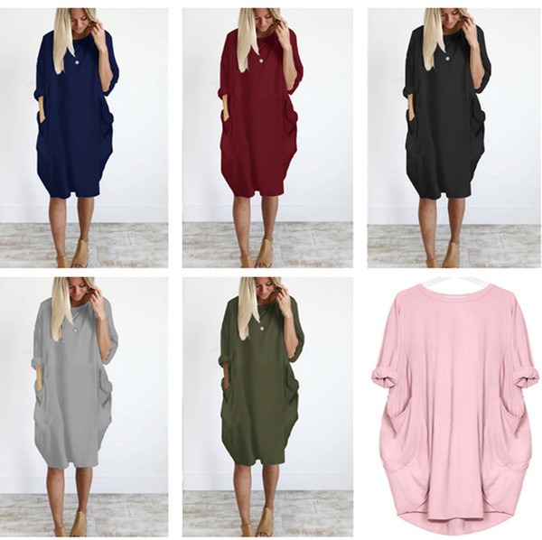 top popular Summer Women Dress Casual Baggy Pocket Dresses Long Sleeve Plus Size Fat Sister Dress Loose Tubular Style Beach Dresses Party Dress New 2020