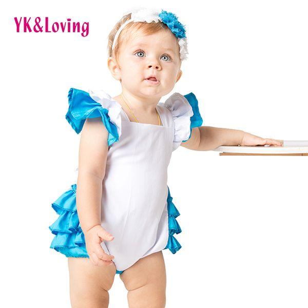 Mameluco del algodón de la colmena para el traje de la novedad del niño vestido de Lolita Maid Cosplay ropa 2pcs traje Alicia en el país de las maravillas diseño original A Y19050602