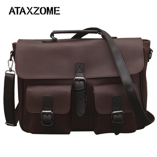 1c0cd53425f2 ATAXZOME новый мужской деловой портфель качество PU кожаная сумка модный  дизайн 14-дюймовый мужская сумка