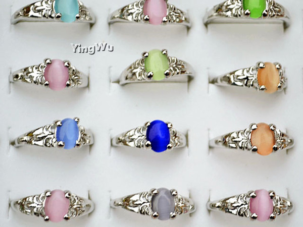 New Fashion Jewelry Mixed Bulk Lots 30pcs Colorful Resin Unisex Alloy Rings
