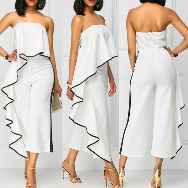 Kenancy Women Jumpsuits Casual Female Strapless Lotus Leaf Overalls Long Trousers Fashion Loose Rompers 2019 Summer Playsuits Y19051501