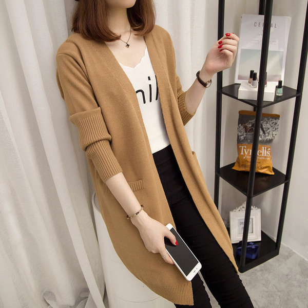 Long Cardigan Femme 2018 Automne Hiver Femmes À Manches Longues Cardigan Pull Tricoté Cardigans Pour Femmes Chandail NS4054