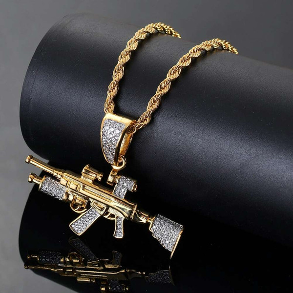 Hip hop rifle Sniper diamantes pingente colares para homens real banhado a ouro zircões de cobre AK47 arma colar de luxo jóias de cadeia cubana