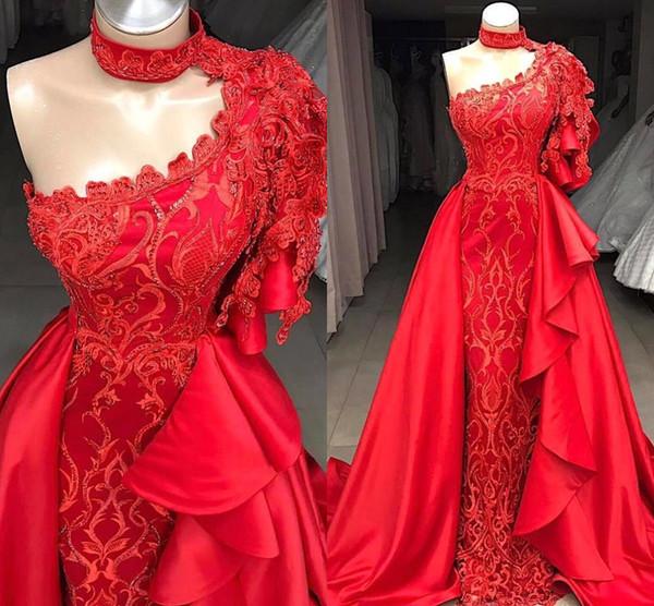 2019 Plus Size Mermaid Red One Shoulder Prom Dresses Appliques in rilievo con gonna staccabile lunghi abiti da sera BC0693