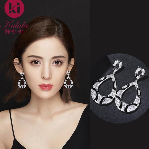 Luxe design suspendu zircons boucles d'oreilles époxy noir dames de bijoux exagérée de luxe exquis mariage écharpe longue oreille