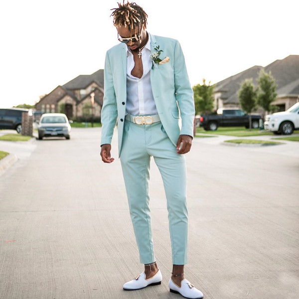 2020 Mint Blue Mens Business Suits Slim Fit Two Pieces Beach Groomsmen Wedding Tuxedos For Men Peaked Lapel Formal Prom Suit (Jacket+Pants)