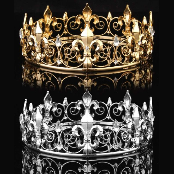 Golden/Silver Wedding Bridal Crystal Tiara Crown King Queen Pageant Prom Rhinestone Veil Tiara Headband Wedding Hair Jewelry D19011102