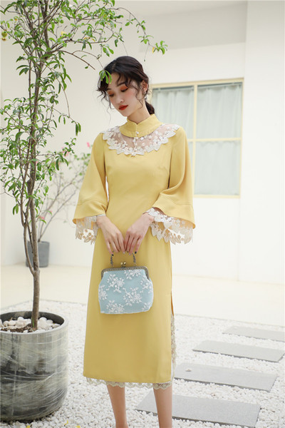 New version cheongsam girls going out elegant gorgeous yellow chinese style dress qipao dress