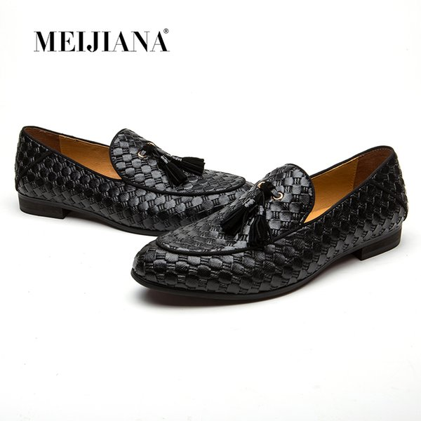 MEIJIANA Fashion Oxford Braid Leather Men Loafers Shoes 2018 Spring Autumn Breathable Flats Men Sapatos Masculino Free Shipping