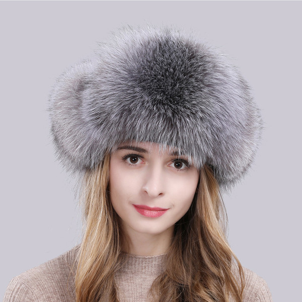 2019 winter russian natural real fox fur hat quality women warm soft real fox fur bomber hats genuine real fox fur cap