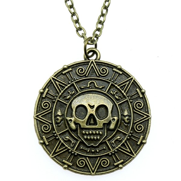 38mm Skull Necklace Pendant For Women Necklace Jewelry Chain Fashion Antique Bronze Color