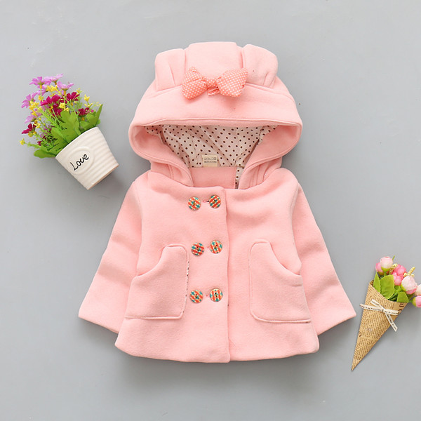 good quality 2019 winter baby girls coat hooded jackets bowknot newborn girls clothing cute thermal infant toddler thick outerwear