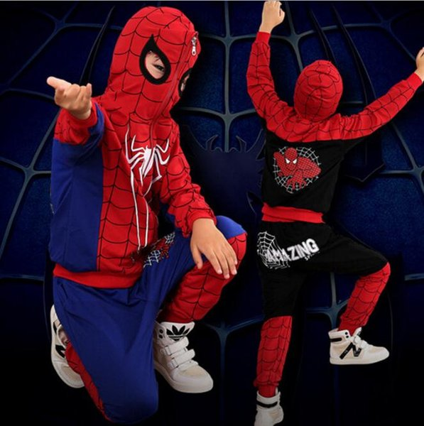 Spiderman Coat set para Niños Cosplay para Niños Ropa de Halloween Pantalones Negro Azul Hombre Araña Abrigo Cremallera