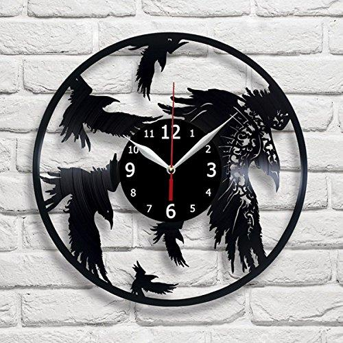 large decorative plates for the wall.htm crow raven bird vinyl record wall clock decor handmade unique  crow raven bird vinyl record wall clock