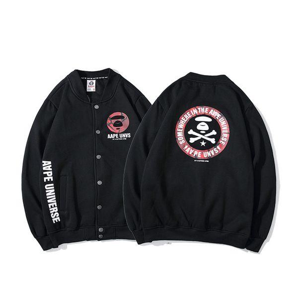 AAPE nueva llegada para hombre con capucha de la chaqueta con capucha para hombre ocasional de la manera de Hip Hop de los hombres diseñador de las mujeres de béisbol camiseta de manga larga Negro