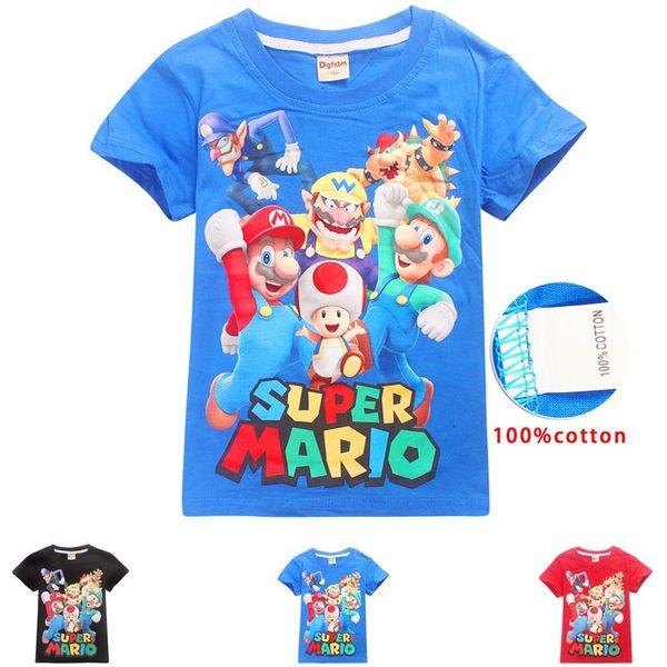 DGFSTM Diseñador de moda de alta calidad, camiseta corta, estilo europeo, hombres, cuello redondo, Super Mario, camiseta de algodón, ropa de manga corta C31