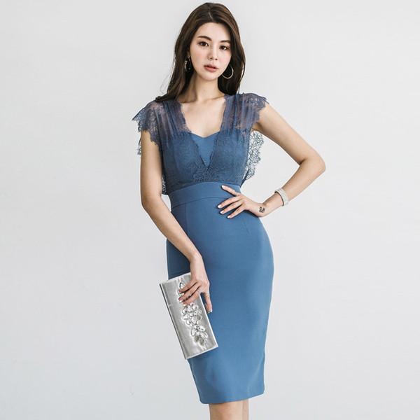 2019 Seksi V Yaka Dantel Patchwork Yaz Elbise Zarif Bodycon Kalem Kadın Elbise Yüksek Bel Kadın Parti Vestidos De Verano SH190722