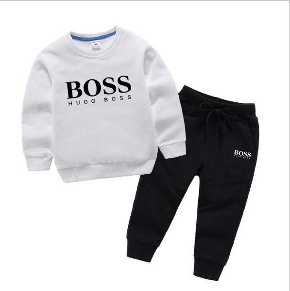 2019 Nouveau designer de luxe classique bébé t-shirt veste pantalon deux pièces 1-4 ans costume enfants mode enfants 2 pcs coton ensembles de vêtements