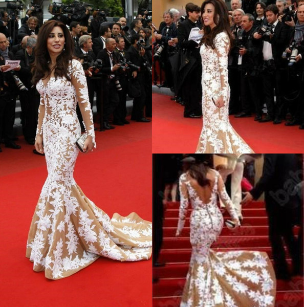 2019 White Lace Mermaid Evening Celebrity Dress Illusion Long Sleeves Inspired Cannes Festival Formal Prom Gowns Backless Party Dress Custom