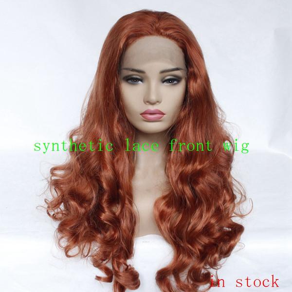 12-26 zoll Mode Mädchen Günstige Synthetische Perücken Rote Körperwelle Haar Lace Front Perücke Pure Color Party Womens