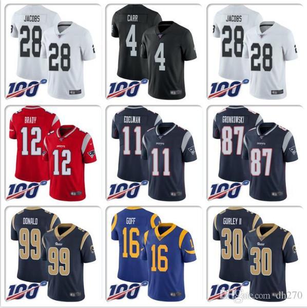 camiseta de fútbol para hombre NFL100TH Josh Jacobs Derek Carr Bo Jackson Jersey Tom Brady Julian Edelman Todd Gurley II Jared Goff Howie Long barato