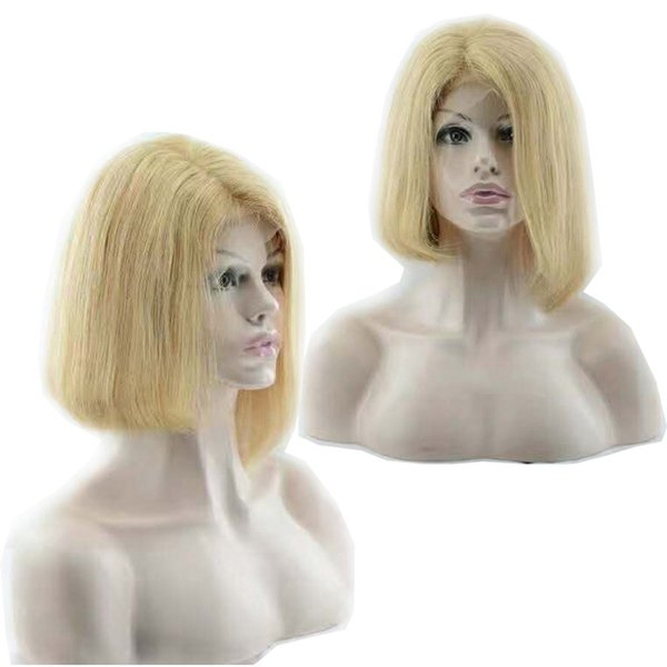 Blonde Virgin Human Hair Lace Front Wigs Natural Straight Bob 613 Donor Raw Remy Bleaching Peruvian Full Lace Wigs for Beauty Party