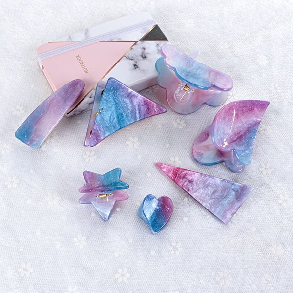 New 1pc Cute Girls Acetate Starry Hair Clips For Women Colorful Geometric Hairpins Hair Barrettes Styling Accessories