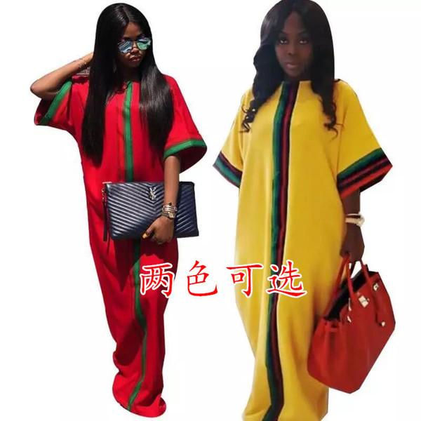 Summer Women Casual Maxi Dresses Designer di marca Stripe Ribbon Pocket 1/2 Kimono Sleeve Allentato Piano Lunghezza Abito Verde Giallo Rosso