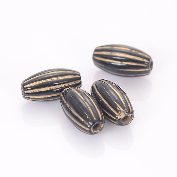 Nouvelle Arrivée Antique Style Conception Spacer Stripe Ovale Perles Acrylique En Plastique Lâche Perles Pour Diy Bijoux Making Supplies