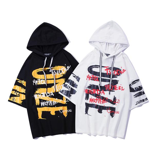 2019 Hombres Carta de Graffiti impresa Loose Hooded camiseta Verano de Gran Tamaño Streetwear Harajuku Hip Hop monopatín Camisetas camiseta
