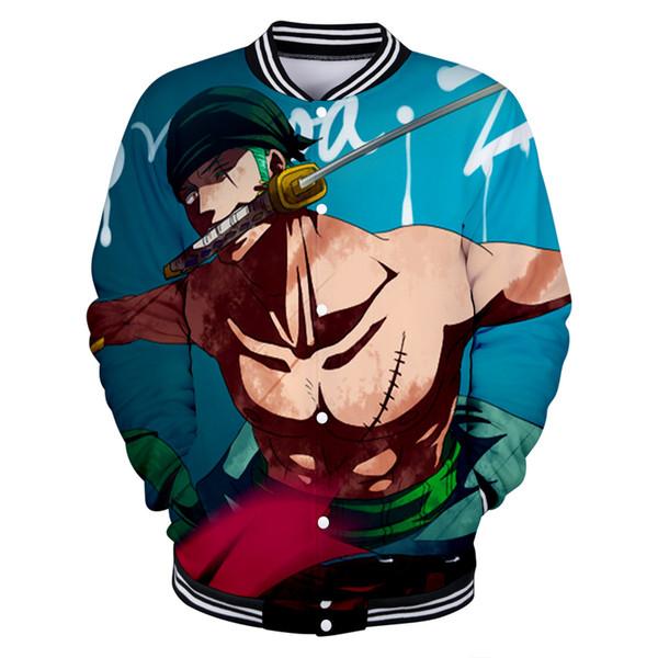 2019 novos One Piece beisebol Anime Homens uniformes / mola mulheres ocasional Harajuku jaquetas de beisebol roupas 4XL